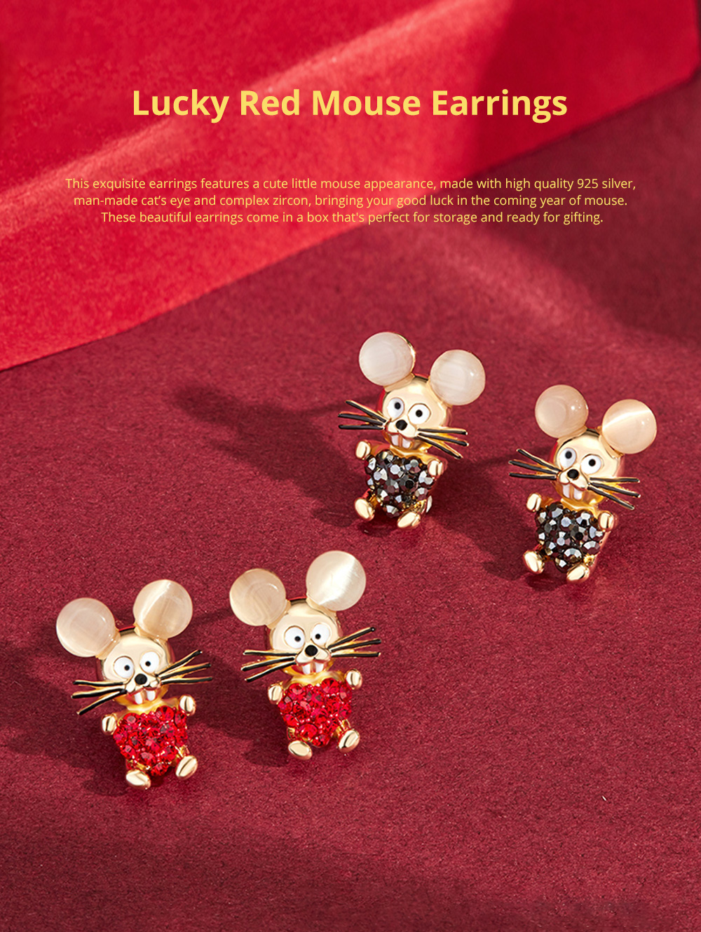 Delicate 925 Silver Earrings  Mouse Zodiac Year Birth Eardrop with Propitious implied Meaning Mouse Earrings Studs 0