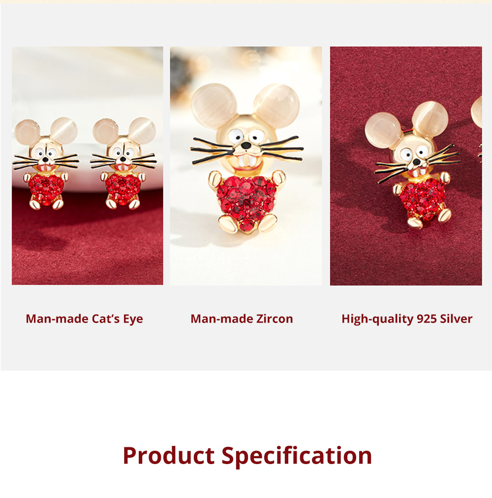 Delicate 925 Silver Earrings  Mouse Zodiac Year Birth Eardrop with Propitious implied Meaning Mouse Earrings Studs 6