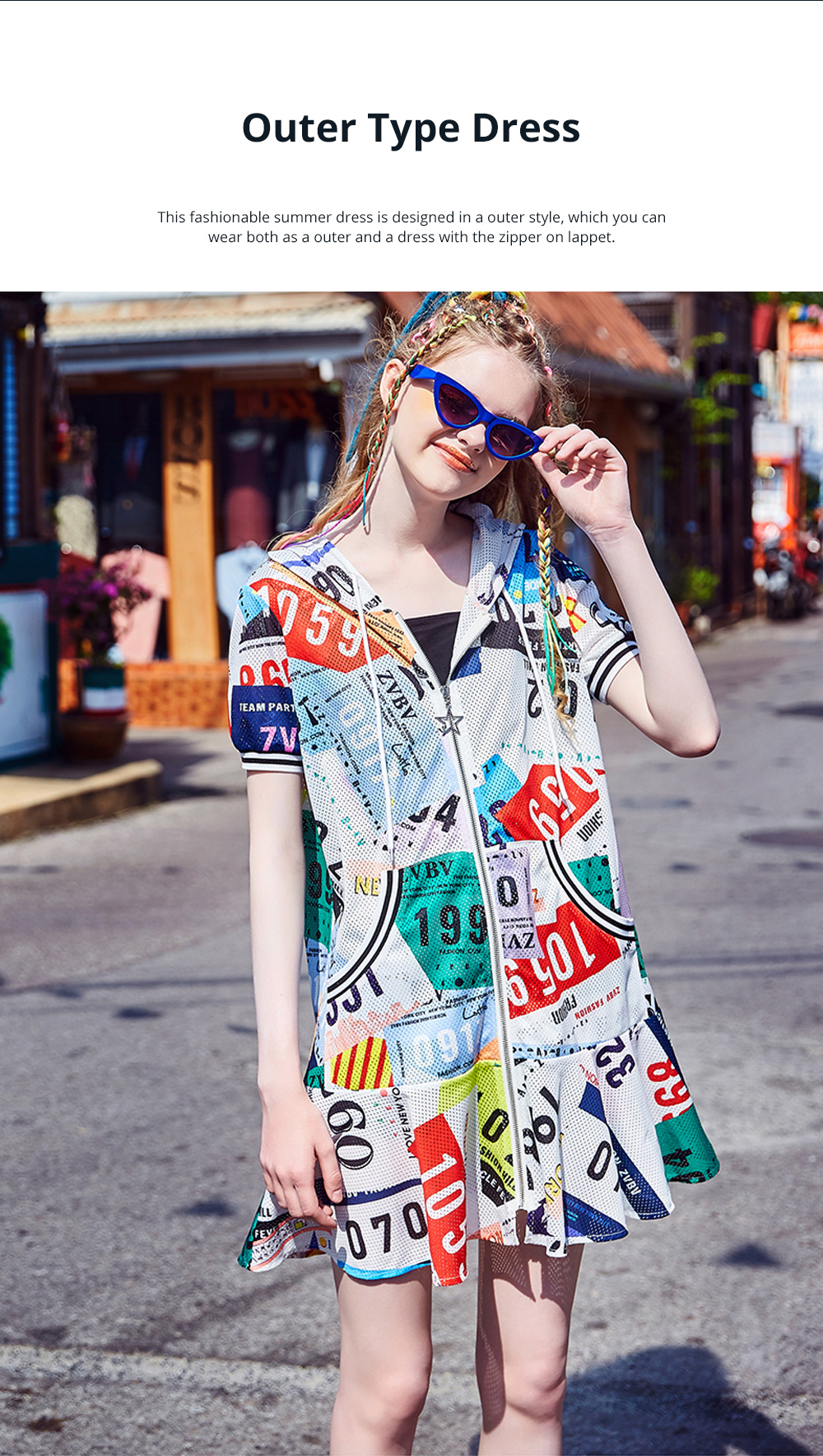 2020 Latest European Summer Leisure Style Zipper One-piece Dress Unique Printed Baggy Style Popular Breathable Dress For Girls 1