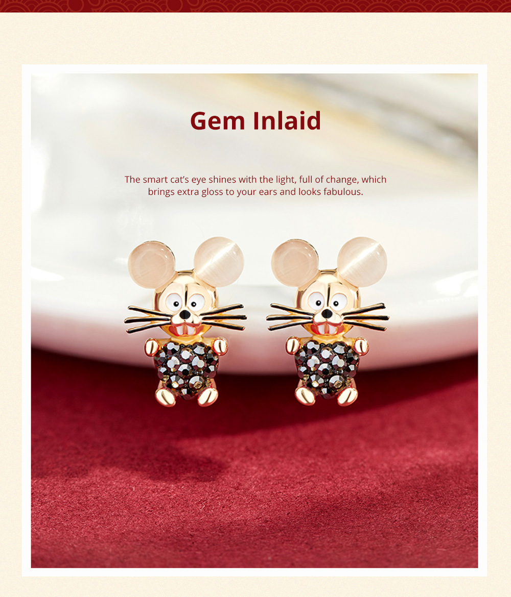 Delicate 925 Silver Earrings  Mouse Zodiac Year Birth Eardrop with Propitious implied Meaning Mouse Earrings Studs 5