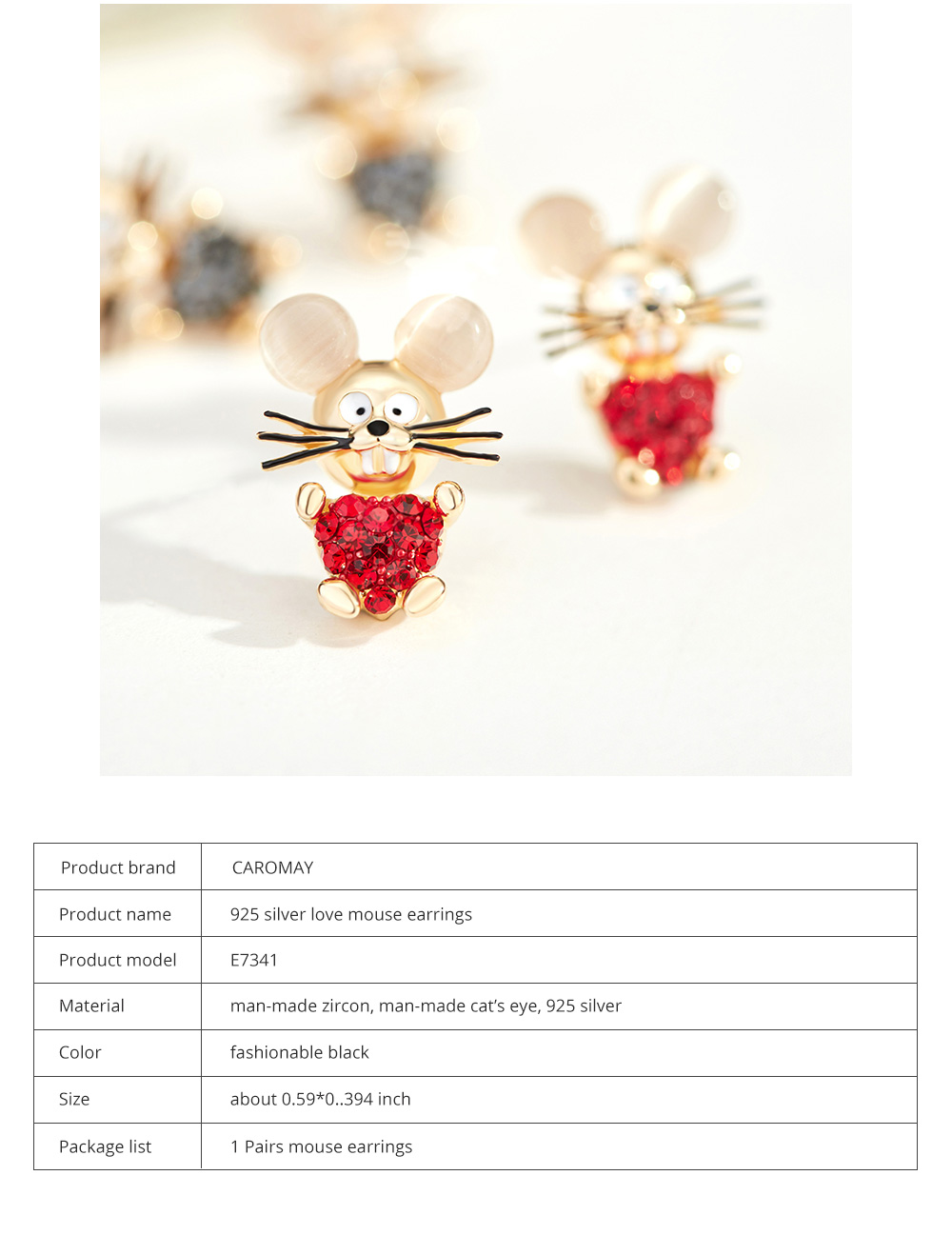 Delicate 925 Silver Earrings  Mouse Zodiac Year Birth Eardrop with Propitious implied Meaning Mouse Earrings Studs 7