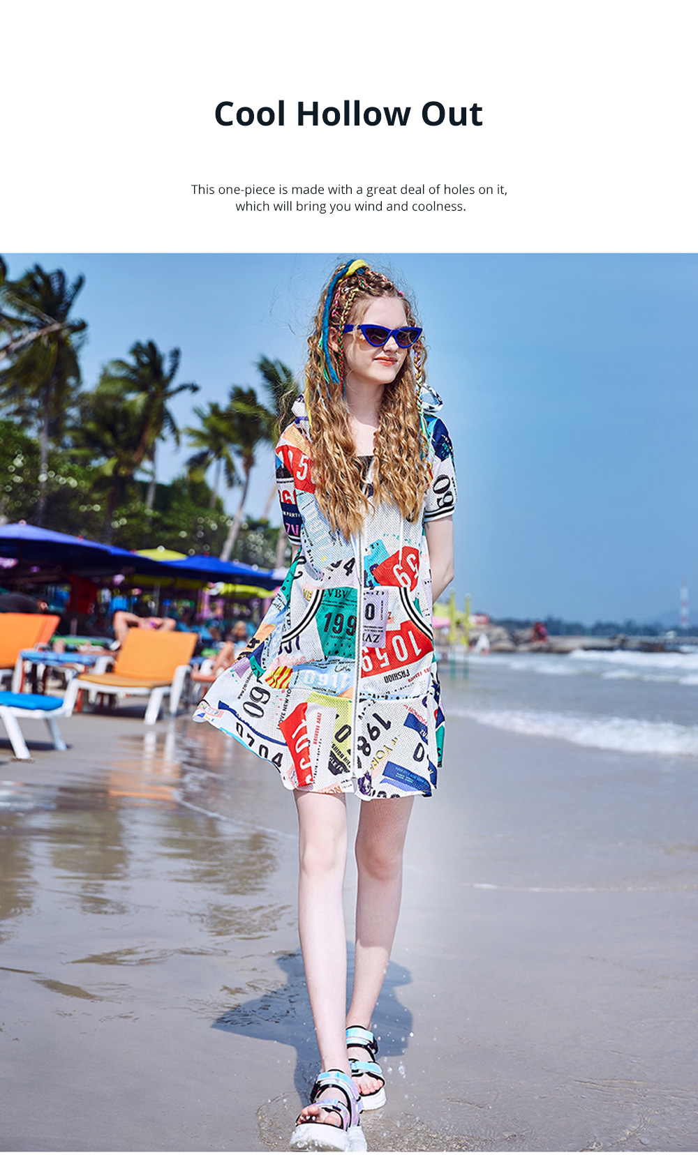 2020 Latest European Summer Leisure Style Zipper One-piece Dress Unique Printed Baggy Style Popular Breathable Dress For Girls 3