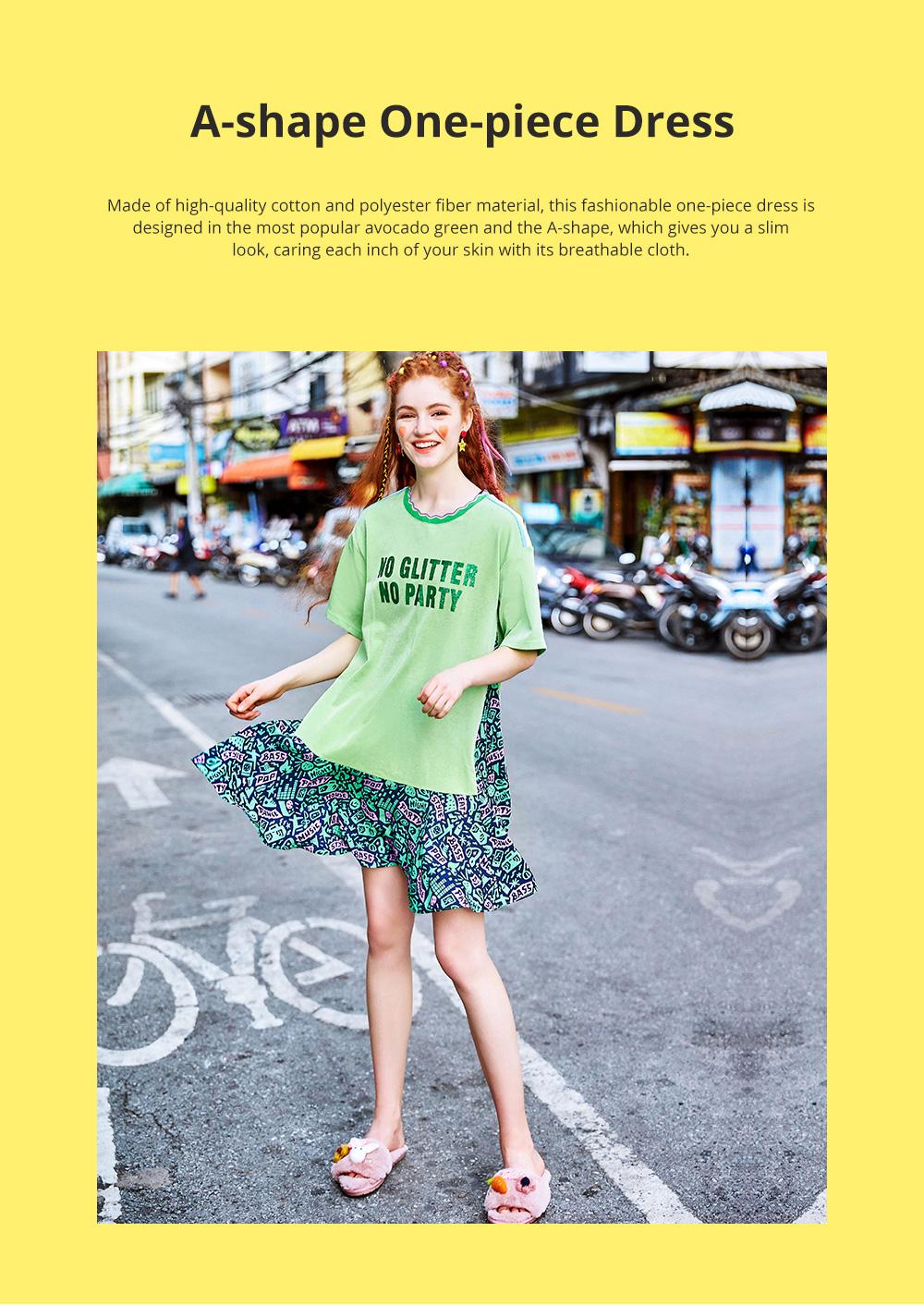 Summer New European Style Fashionable Avocado Green One-piece Fresh Leisure A-shape Dress For Girls Womens 0