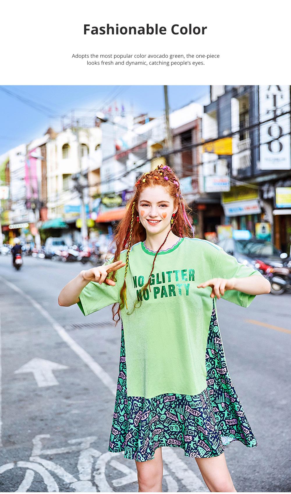 Summer New European Style Fashionable Avocado Green One-piece Fresh Leisure A-shape Dress For Girls Womens 4