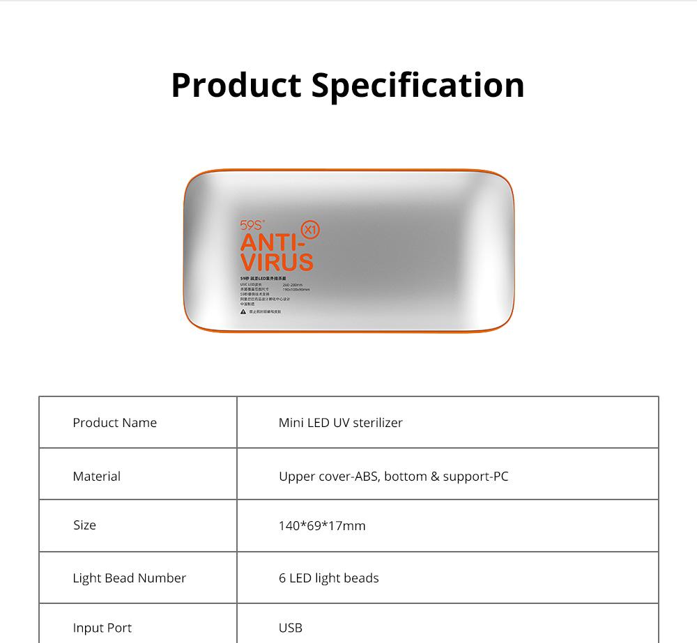 Portable Ultraviolet Sterilizer for Gauze Mask Smartphones Medical Level LED UV Sterilization Device FDA Certified Lightweight Sterilizer Designed By Alibaba Design 10