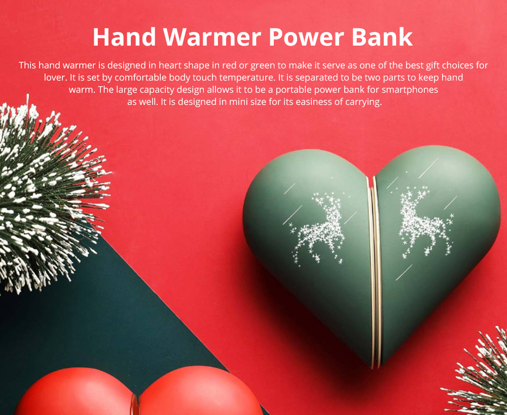 Lovely Heart Hand Warmer for Gift Choice Portable USB Rechargeable Electric Warming Treasure Easy to Carry Power Bank Hand Warmer With Gift Package Best Wishes 0