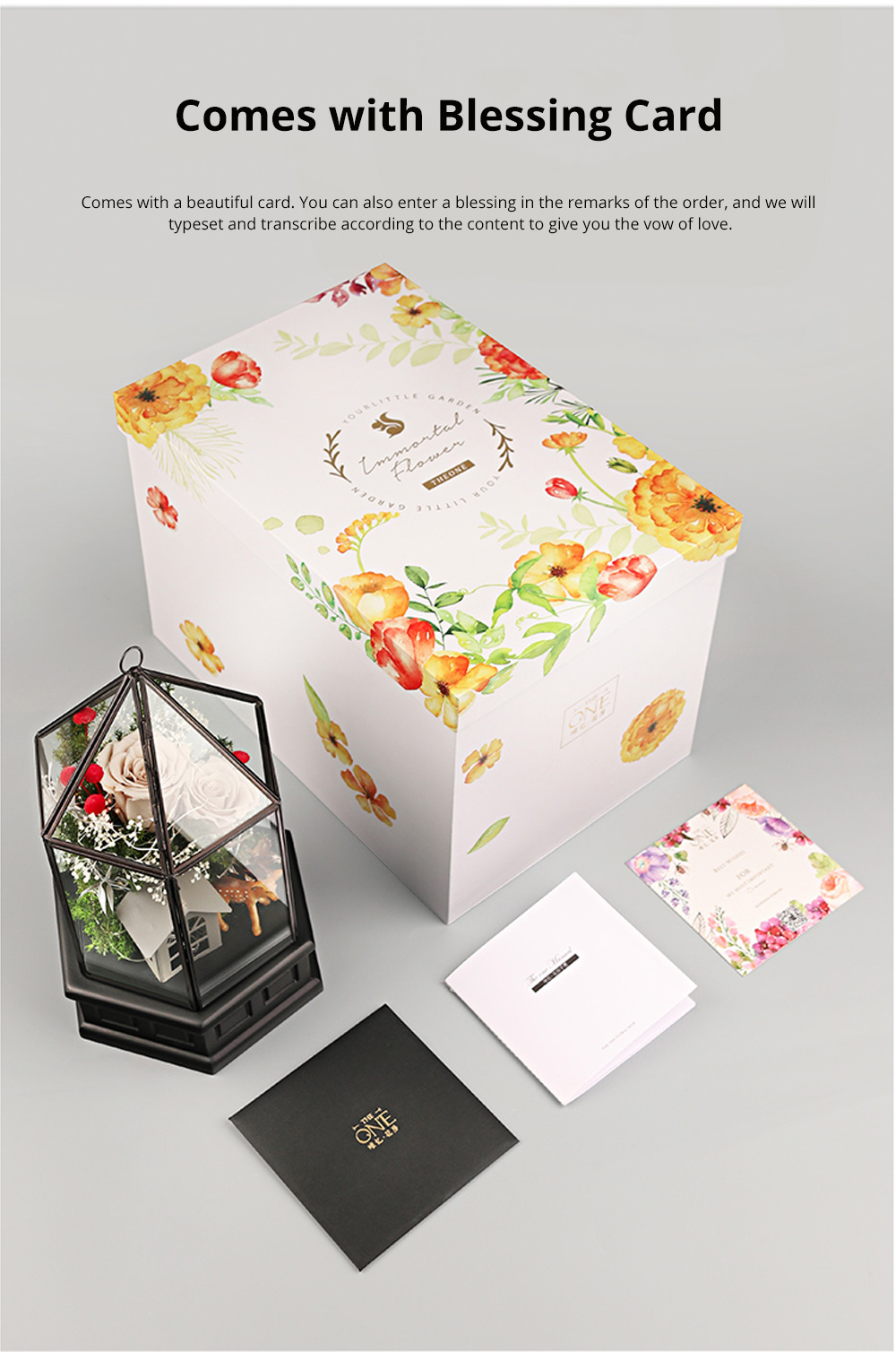 Immortal Flower Rose with Warm Night Light Eternal Flower House Gift Box Creative Gift for Valentine's Day Christmas Birthday 4