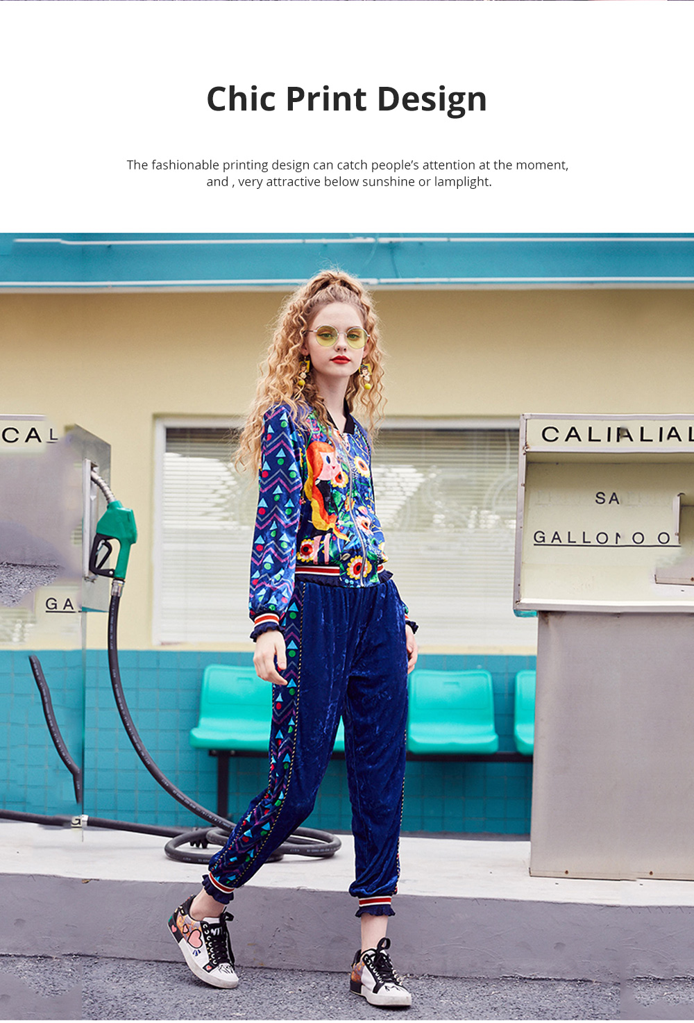 2020 Women's Velour Tracksuit Set with Long Sleeve Top Long Pants 2 Piece Sporty Velvet Suits with Printed Flowers 3