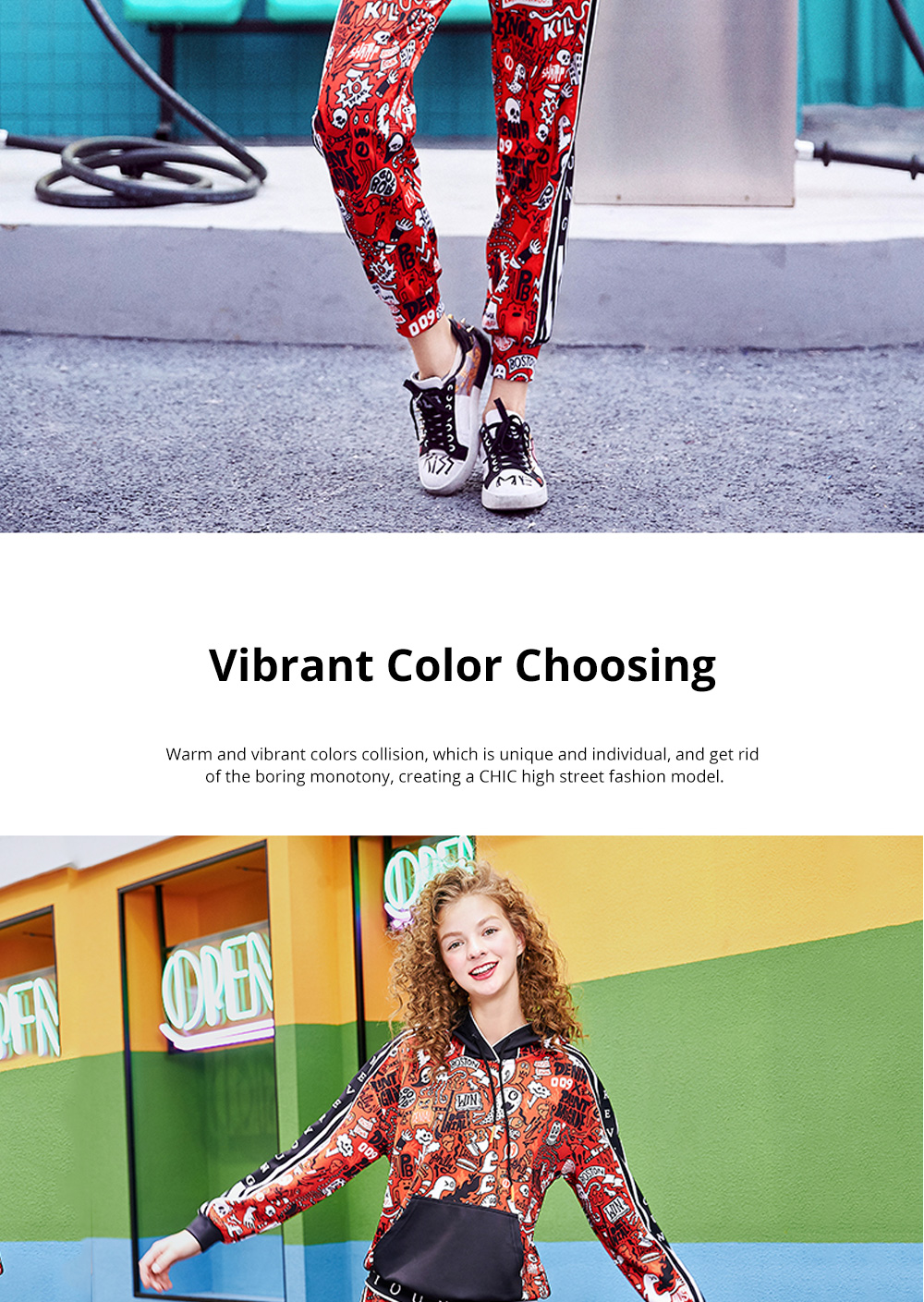 Women's Tracksuit with Vibrant Color 2 Piece Sets Casual Hoodie Suit with Close-Up Sleeve and Leg Openings 2