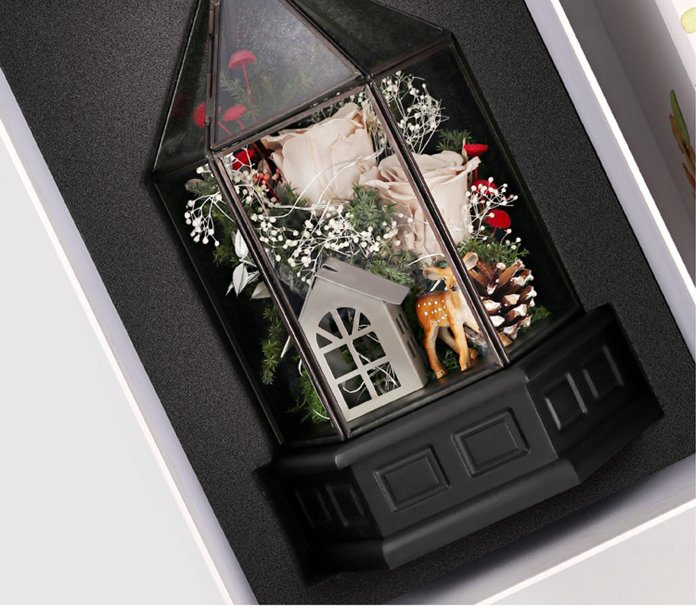 Immortal Flower Rose with Warm Night Light Eternal Flower House Gift Box Creative Gift for Valentine's Day Christmas Birthday 8