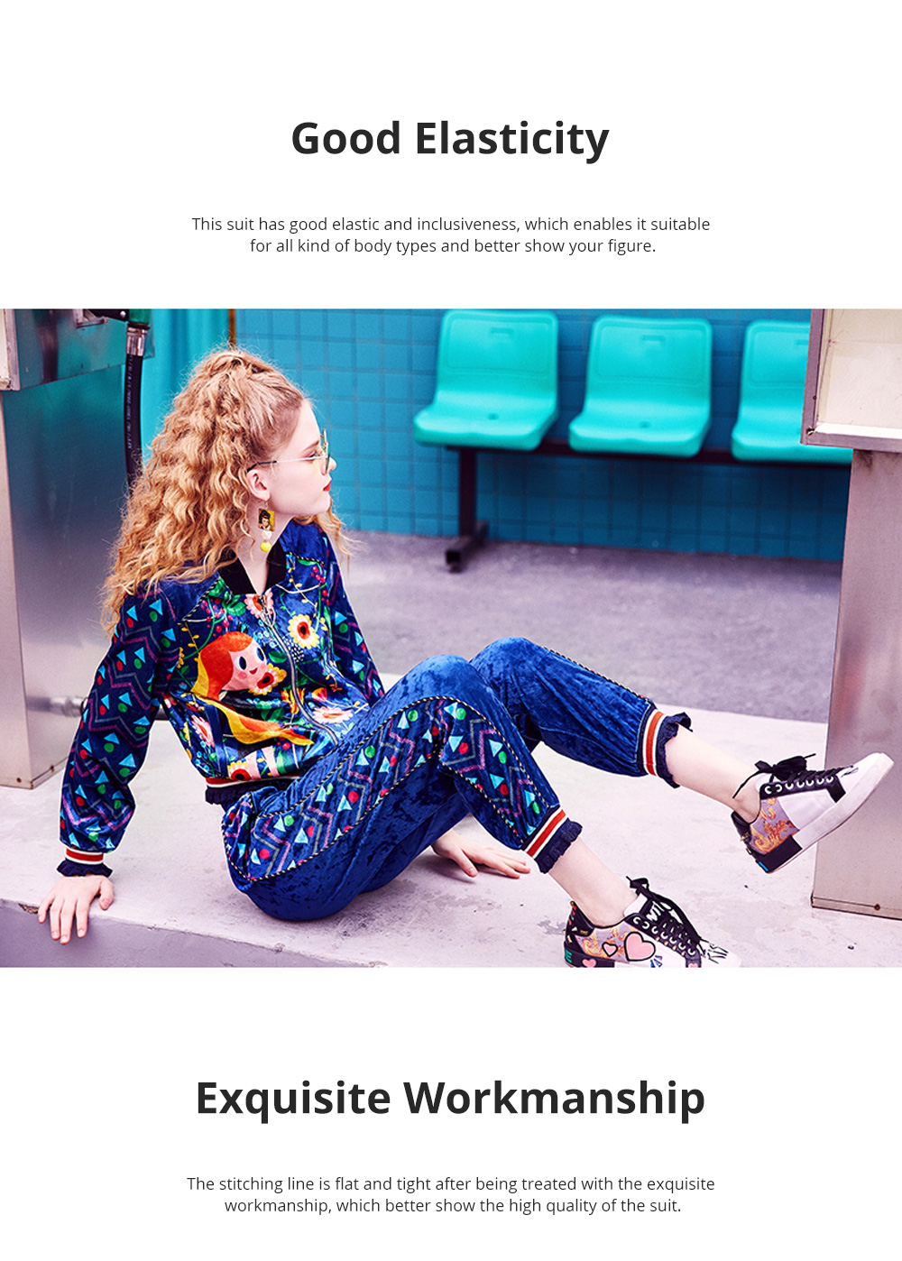 2020 Women's Velour Tracksuit Set with Long Sleeve Top Long Pants 2 Piece Sporty Velvet Suits with Printed Flowers 4