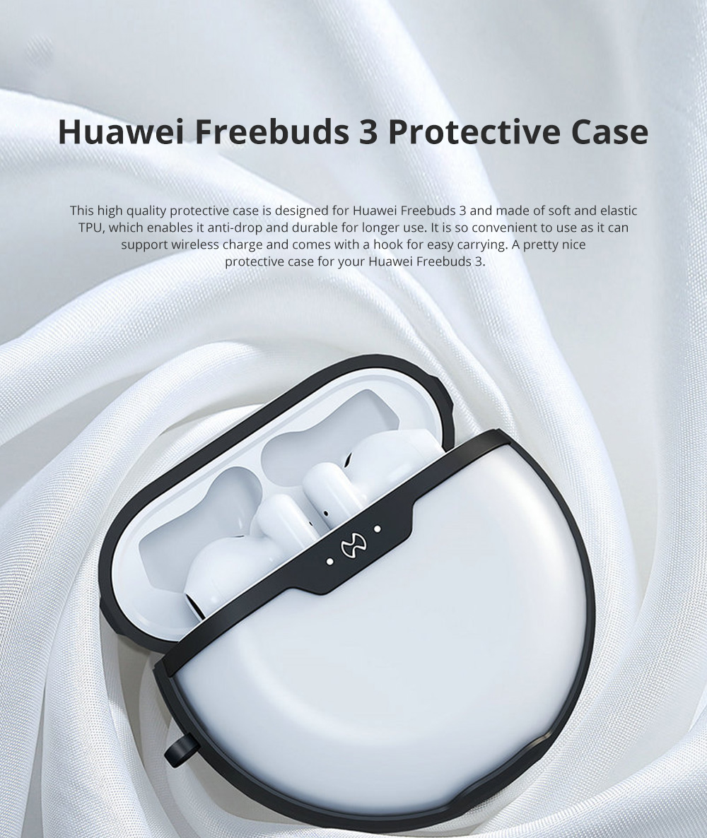 TPU Protective Case for Huawei Freebuds 3 Anti-Fall Cover Protector with Hook Support Wireless Charging 0
