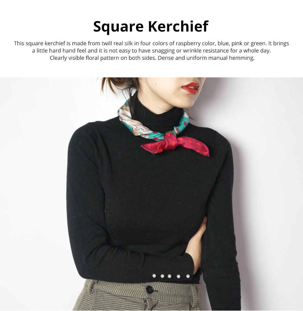 Retro Style Kerchief for Women Use Contrast Color Real Silk Mini Kerchief Fashionable Twill Kerchief 0