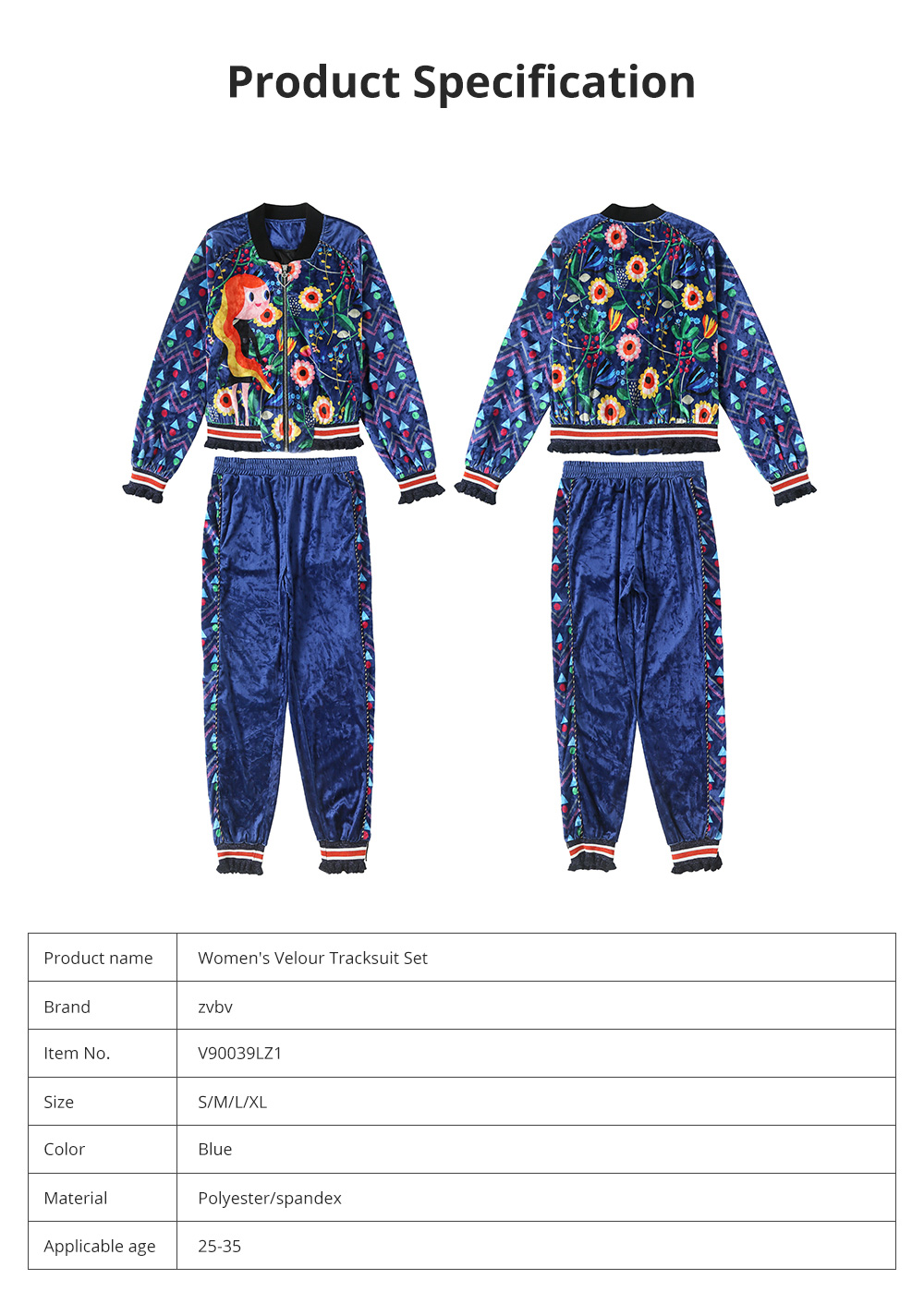 2020 Women's Velour Tracksuit Set with Long Sleeve Top Long Pants 2 Piece Sporty Velvet Suits with Printed Flowers 7
