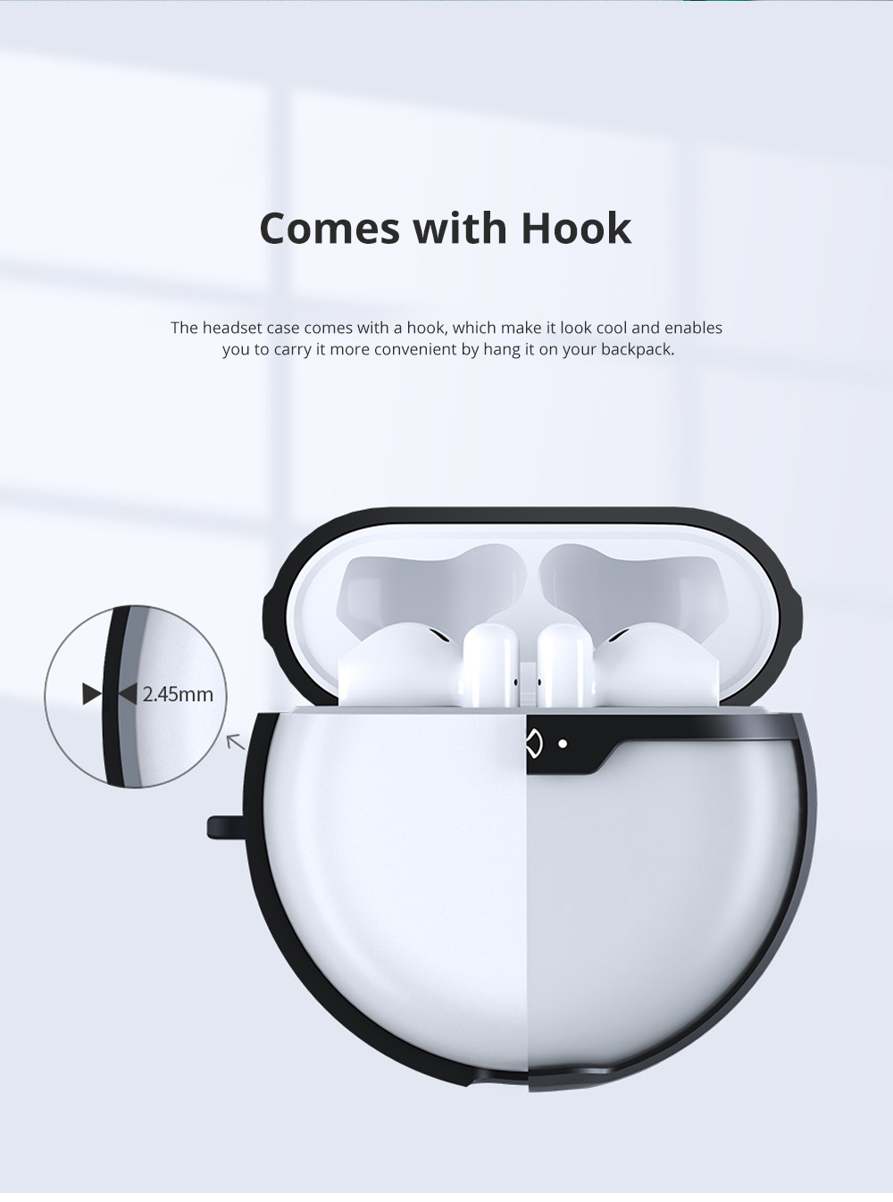 TPU Protective Case for Huawei Freebuds 3 Anti-Fall Cover Protector with Hook Support Wireless Charging 4