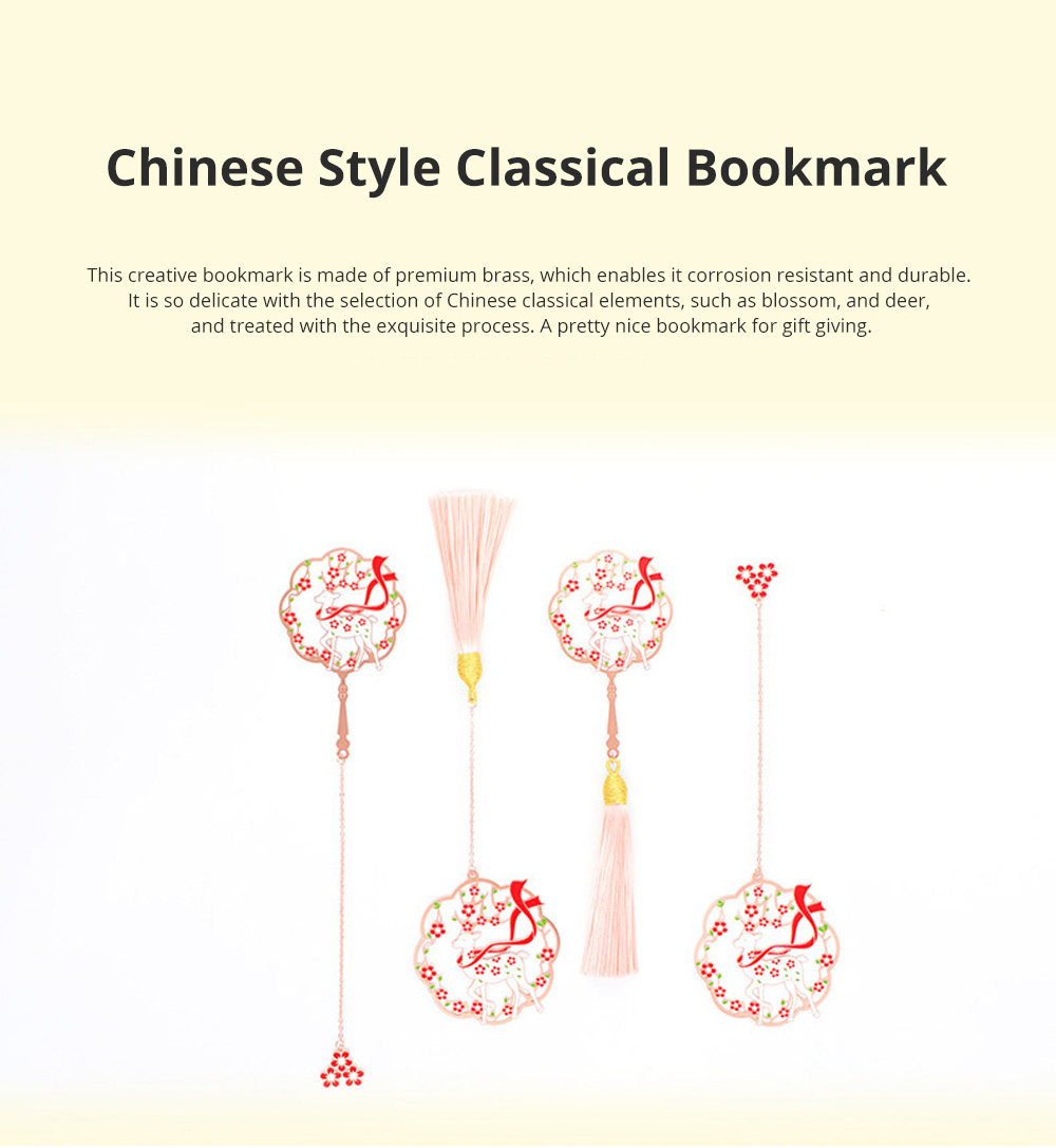 Brass Paint Bookmark Chinese Style Classical Bookmark Group Fan Metal Plum Blossom Bookmark for Gift Giving 0