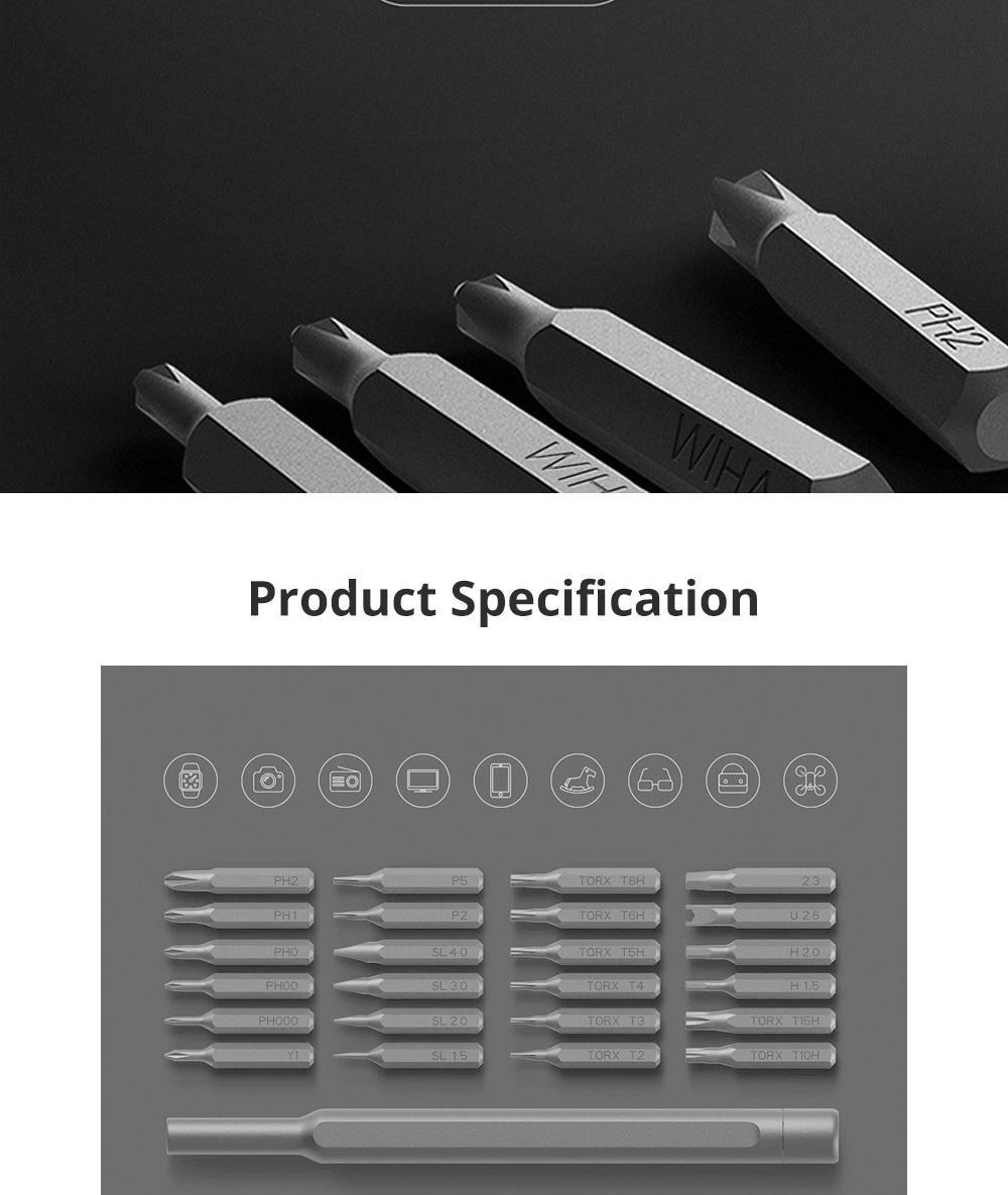 MI Wiha Precision Screwdrivers Set 25 in 1 Household Repair Tool Kits with Aluminum Storage Box for Appliance Repair 6