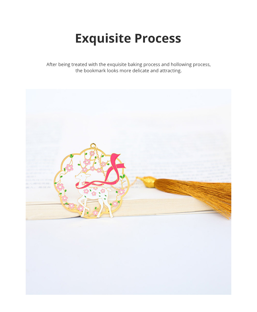 Brass Paint Bookmark Chinese Style Classical Bookmark Group Fan Metal Plum Blossom Bookmark for Gift Giving 2