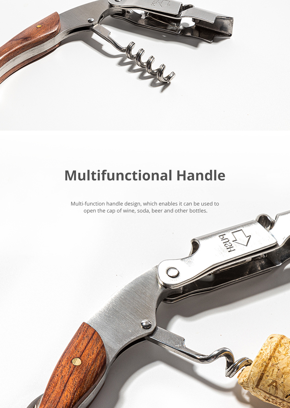 Creative Stainless Steel Wine Opener Professional Knife Wine Bottle Opener with Multifunctional Handle and Sharp Blade 2