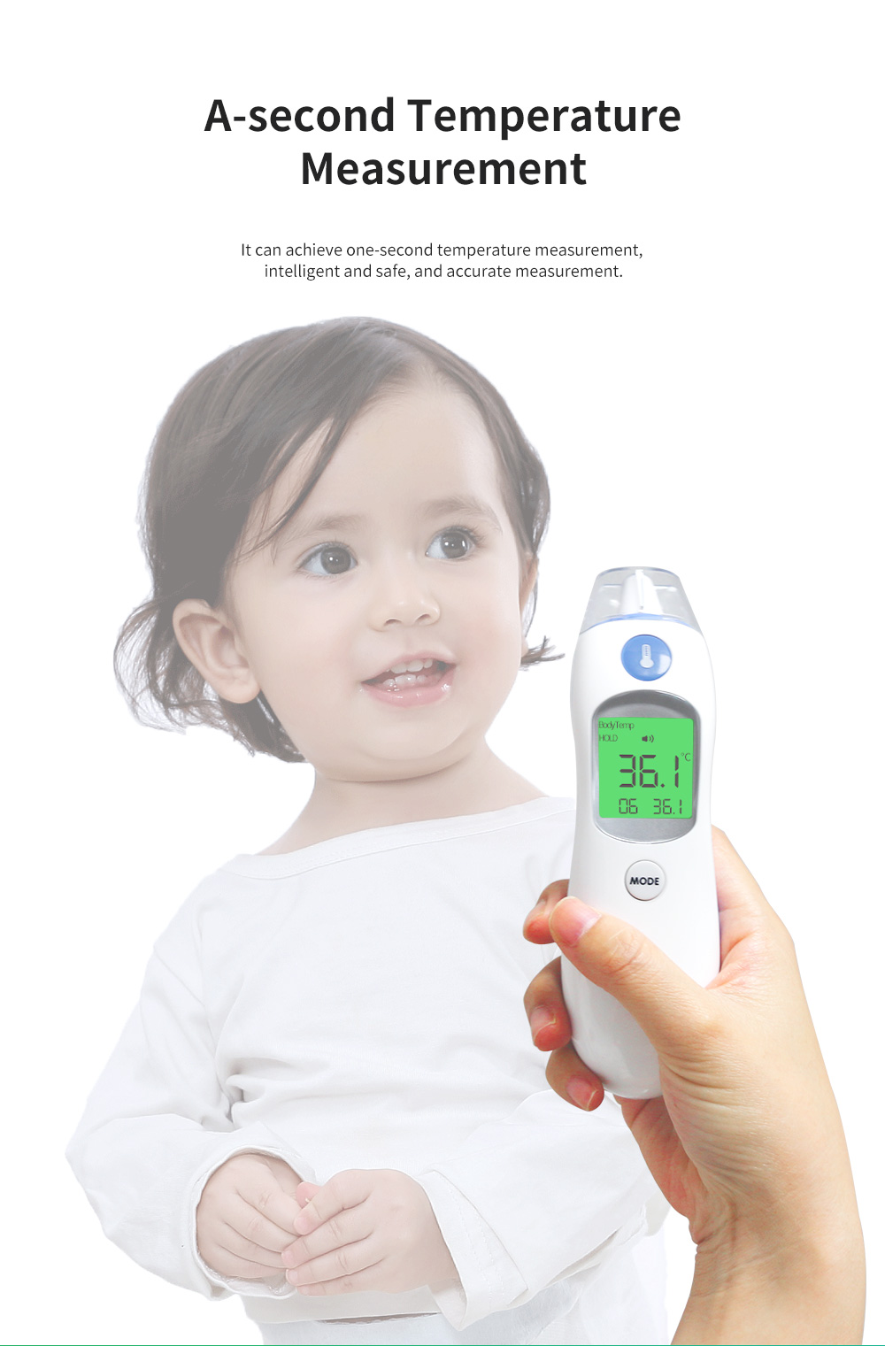 Non-contacted Baby Infrared Thermometer Large LCD Screen Household Electric Thermometer Forehead Thermometer 2