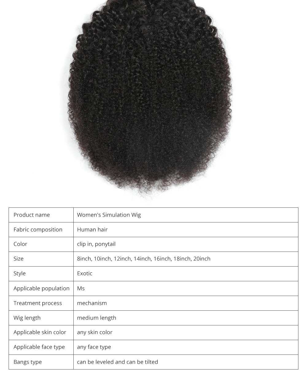 Women's Simulation Wig Contract Horsetail Afro Kinky Curly Clip in Real Hair Wig Ponytail for Girl Lady Women 6