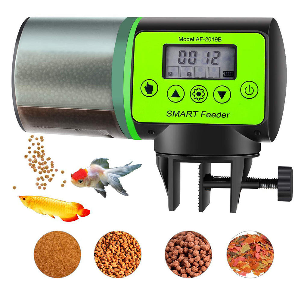 Intelligent timing Automatic Fish Feeder Battery Powered Smart Feeder with 4 Timing Modes and LCD Display for Easier Pet Feeding 2