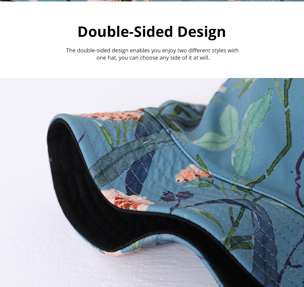 Double-Sided Flat Fisherman's Hat Printing Basin Fishing Hat For Men Women Outdoor Wearing Best Matching in Four Season 4