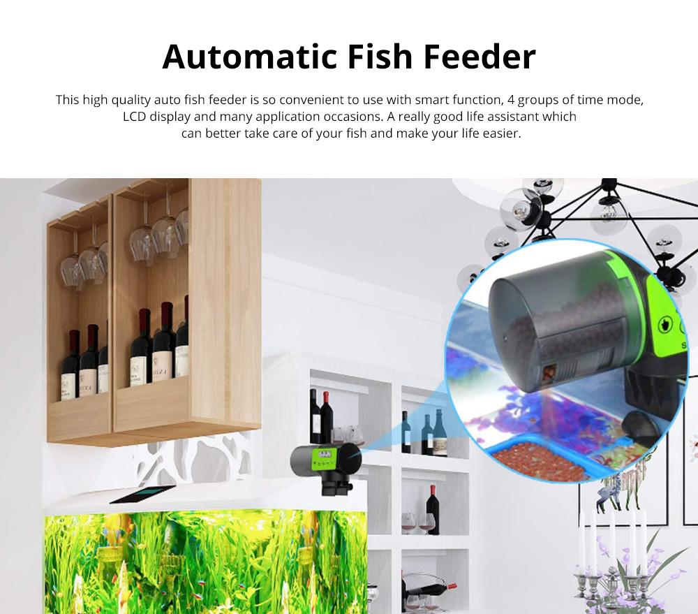 Intelligent timing Automatic Fish Feeder Battery Powered Smart Feeder with 4 Timing Modes and LCD Display for Easier Pet Feeding 0