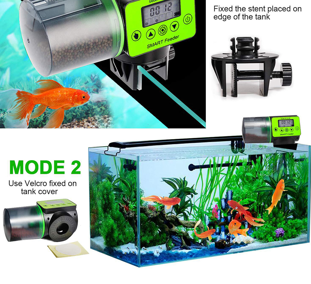 Intelligent timing Automatic Fish Feeder Battery Powered Smart Feeder with 4 Timing Modes and LCD Display for Easier Pet Feeding 6