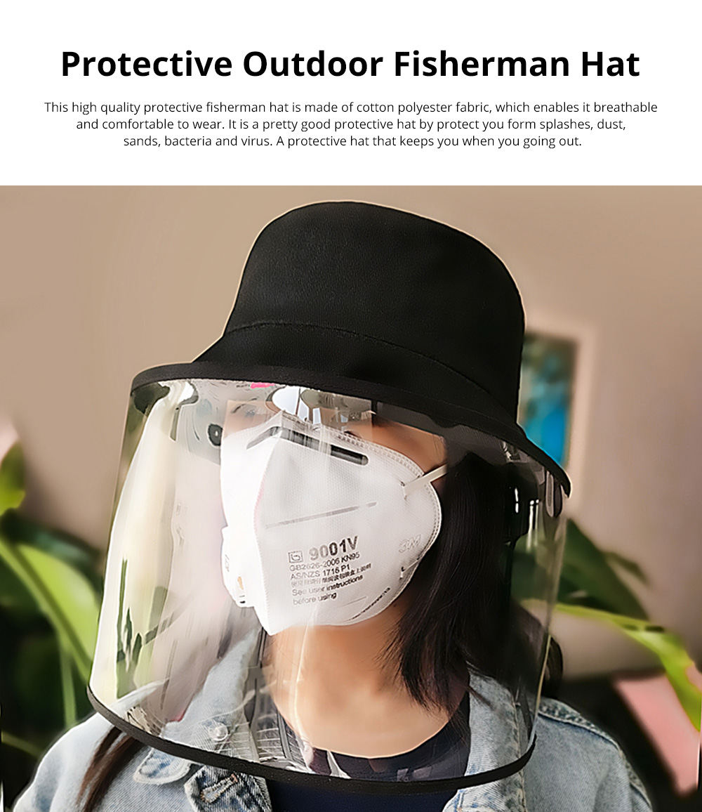 Protective Fisherman Hat with Face Shield Cover Anti-Spitting Dust proof Safety Travel Helmet for Outdoor Protection 0
