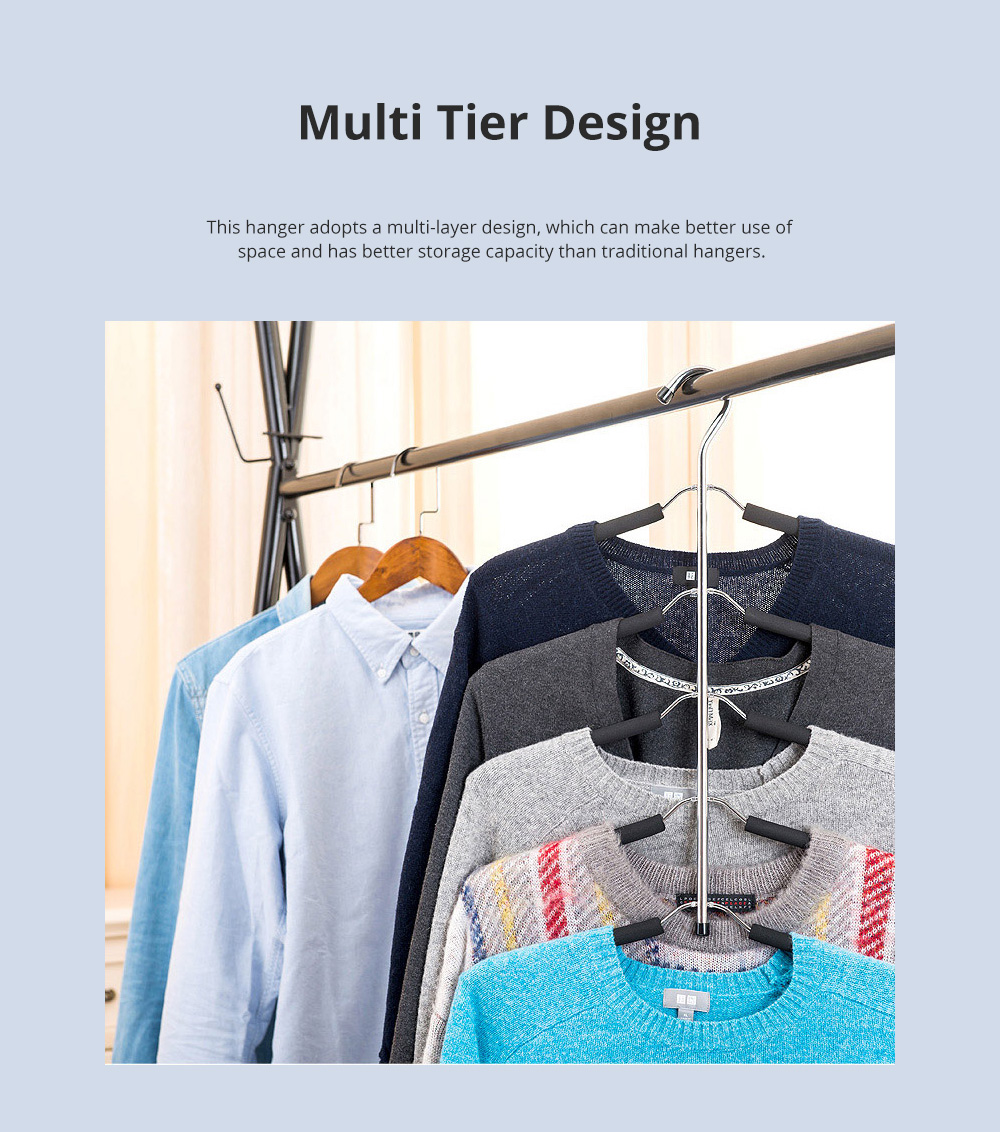 Sponge Anti-skid Multi-layer Clothes Shelf Stainless Steel Clothes Storage Rack Multifunctional Creative Clothes Hanger 3