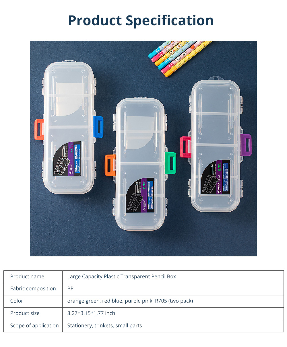 Large Capacity Plastic Transparent Pencil Box Pen Box Storage Box Double-layer Children Stationery Set for Students 6