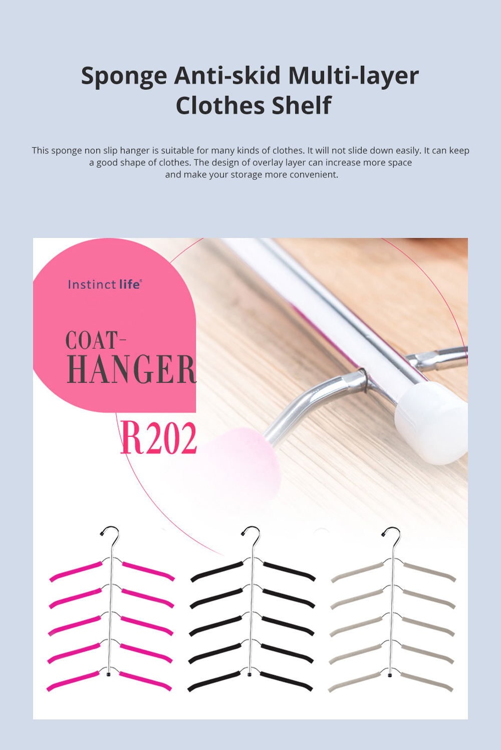 Sponge Anti-skid Multi-layer Clothes Shelf Stainless Steel Clothes Storage Rack Multifunctional Creative Clothes Hanger 0