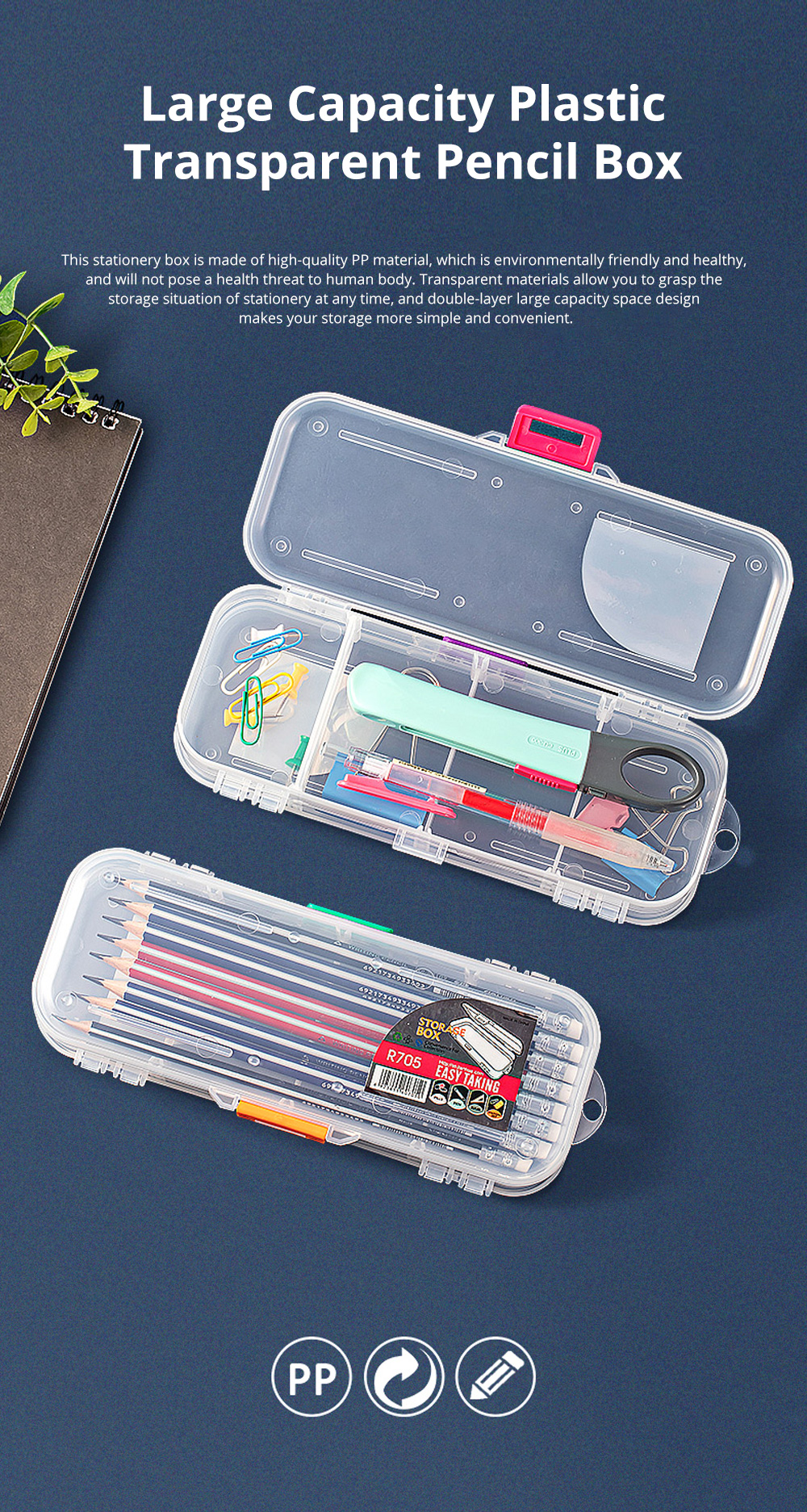 Large Capacity Plastic Transparent Pencil Box Pen Box Storage Box Double-layer Children Stationery Set for Students 0