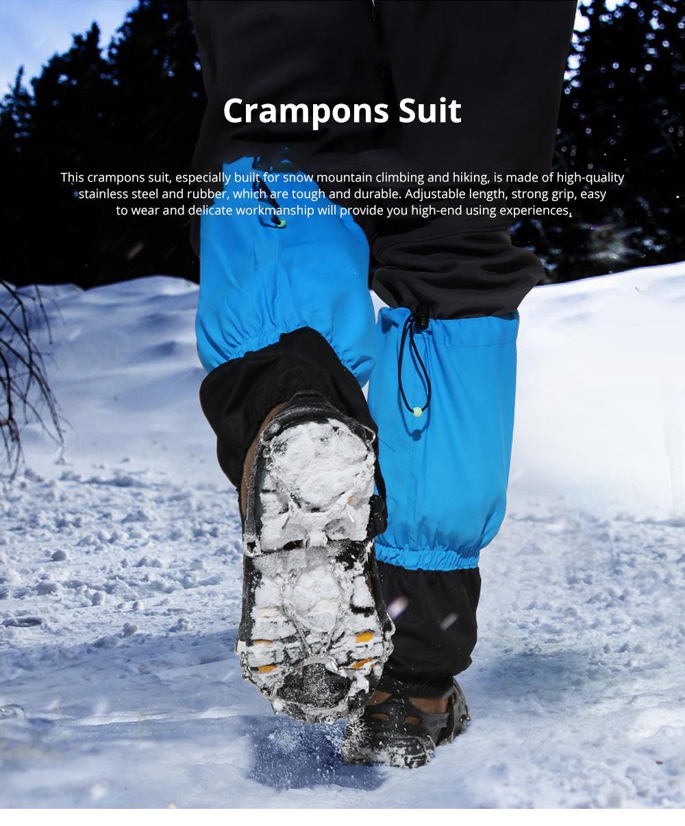 Professional Mountain Climbing Ice Surface Walking Hiking Adjustable Crampons Suit with Storage Bag 0