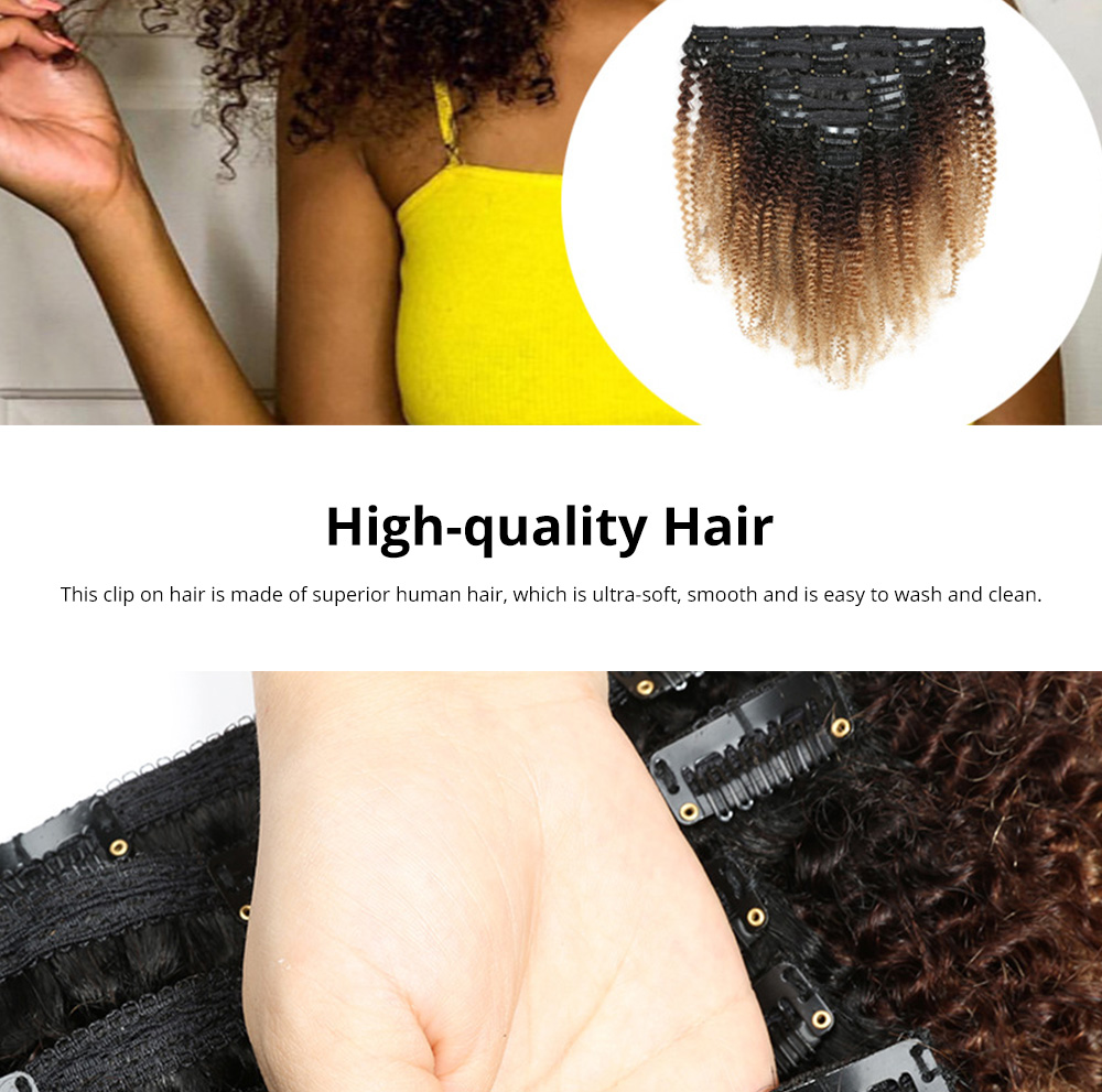 *Stylish Fashionable Gradient Color Afro Kinky Curly Clip On Hair Hairpin Grip Decoration for Women Ladies 1