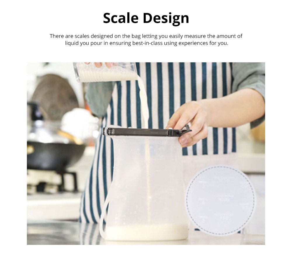 Portable Foldable Sealed Food-grade Silicone Food Preservation Bag Fresh-keeping Storage Bags with Graduation 7