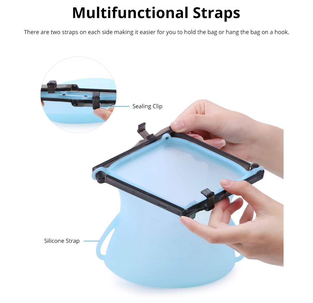 Portable Foldable Sealed Food-grade Silicone Food Preservation Bag Fresh-keeping Storage Bags with Graduation 8
