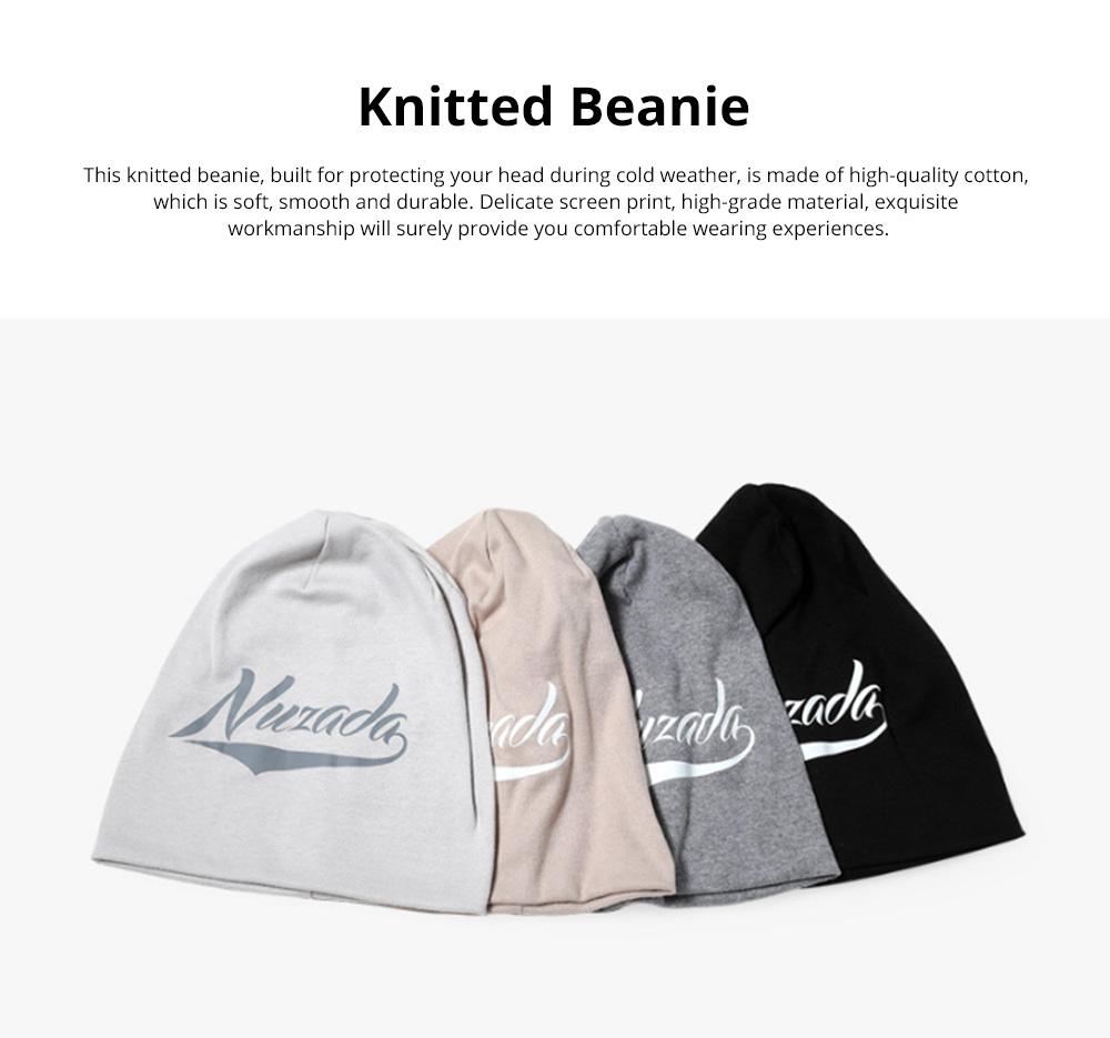 Stylish Minimalist Delicate Screen Print Warm Outdoor Sleeve Cap Knitted Beanie Hat Bonnet for Men Women 0