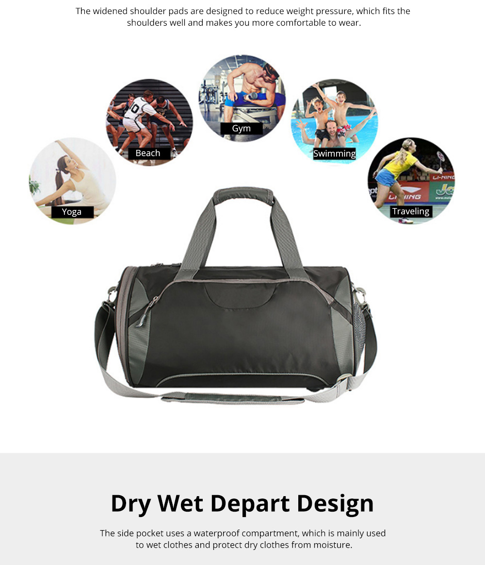 Fashion Waterproof Large Capacity Gym Sports Bag Traveling Bag Dry Wet Depart Handbag with Comfortable Handle Light weight 3