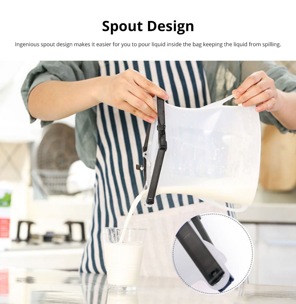 Portable Foldable Sealed Food-grade Silicone Food Preservation Bag Fresh-keeping Storage Bags with Graduation 5
