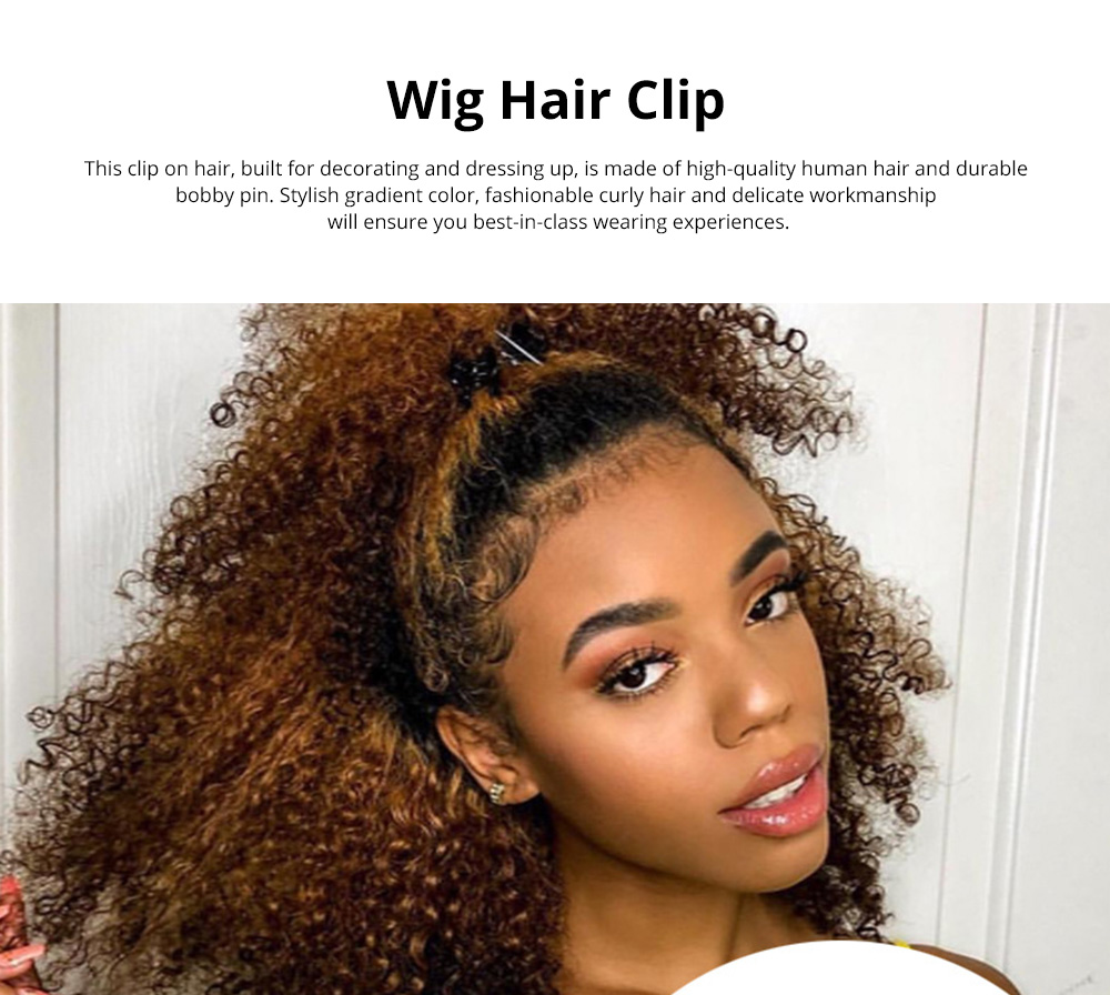 *Stylish Fashionable Gradient Color Afro Kinky Curly Clip On Hair Hairpin Grip Decoration for Women Ladies 0