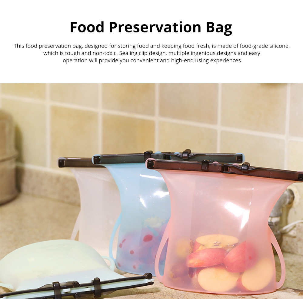Portable Foldable Sealed Food-grade Silicone Food Preservation Bag Fresh-keeping Storage Bags with Graduation 0