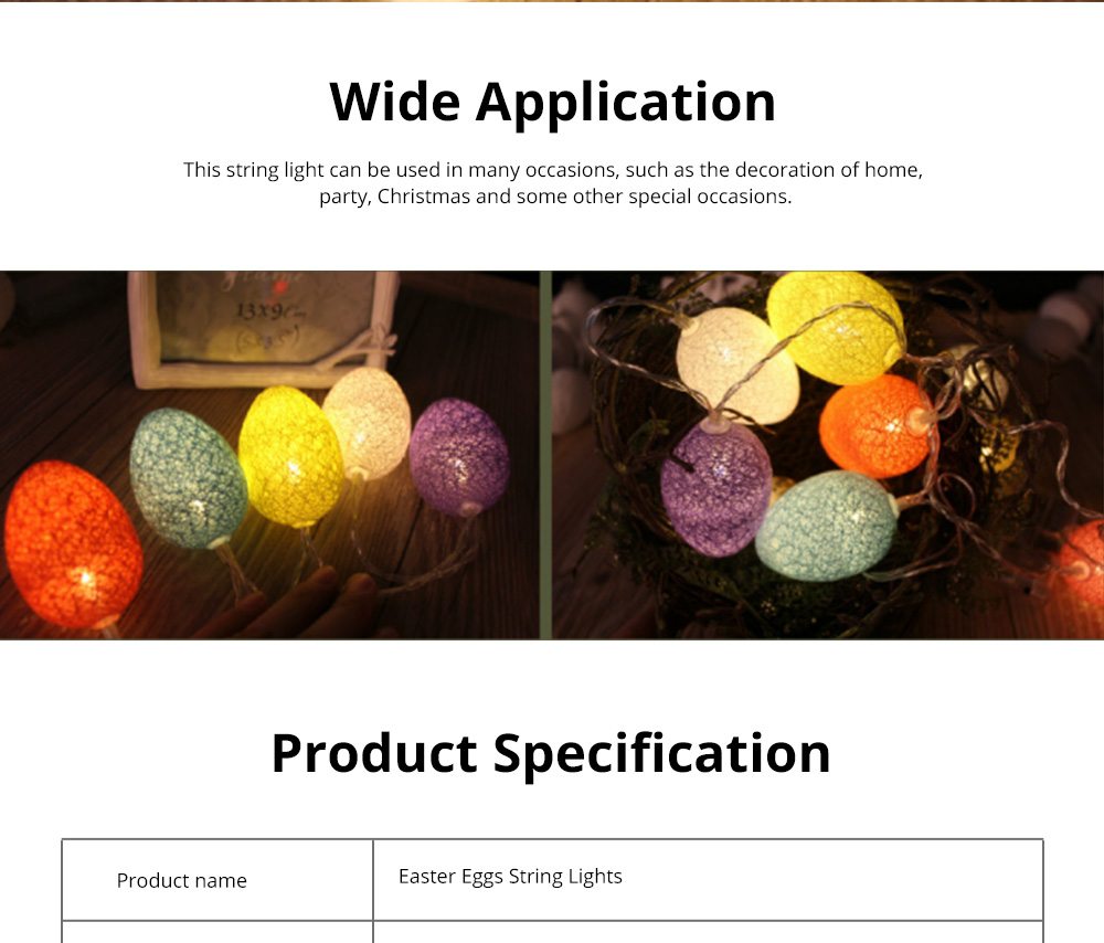 Colorful Easter Eggs String Lights with Remote Control Battery Operated String Light for Indoor and Outdoor Decoration 5
