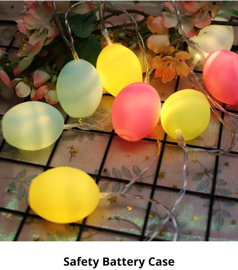 Delicate Creative Colorful Easter Egg Model Vinyl Eggs LED String Lights Bulb with Safety Batteries Holder 4