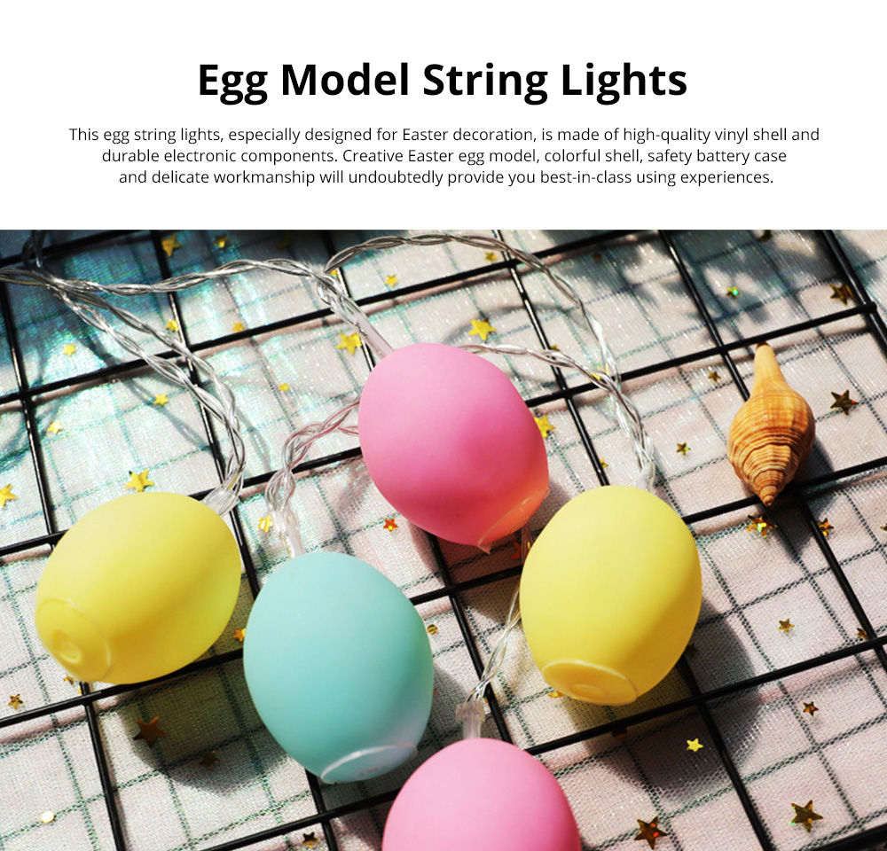 Delicate Creative Colorful Easter Egg Model Vinyl Eggs LED String Lights Bulb with Safety Batteries Holder 0