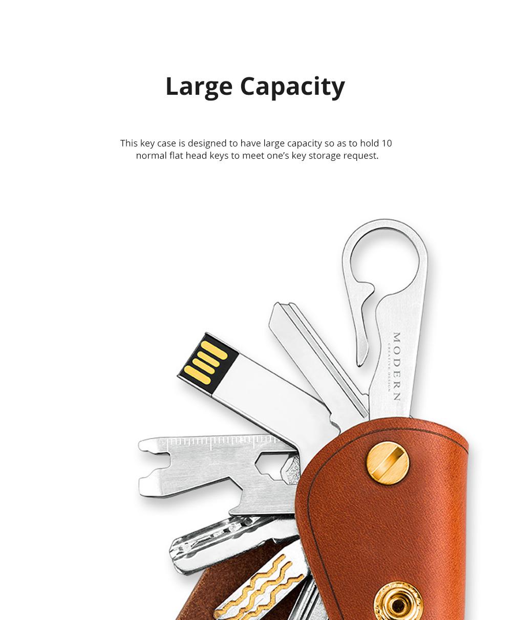 Retro Key Case for Key Storage Creative Real Cow Leather Key Storage Bag Soft Resilient Key Case Large Size Key Holder 1