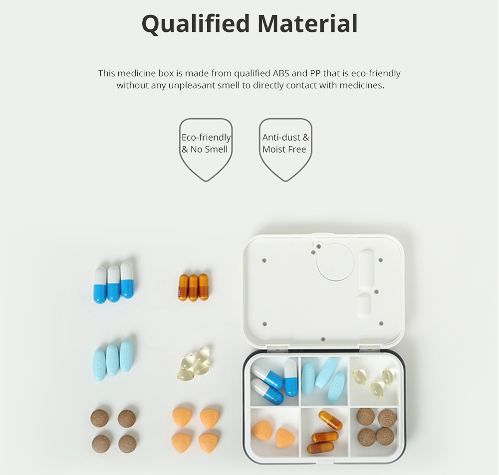 Japanese 4 Grids or 6 Grids Medicine Box for Travelling Portable Intelligent Alarming Pill Case Fine Sealing Sub-boxed Pills Reminder 3