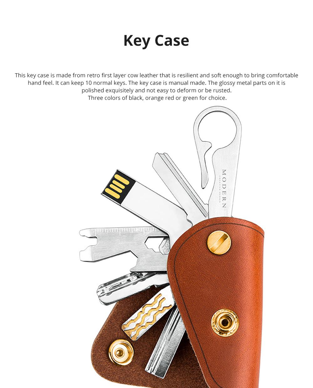 Retro Key Case for Key Storage Creative Real Cow Leather Key Storage Bag Soft Resilient Key Case Large Size Key Holder 0