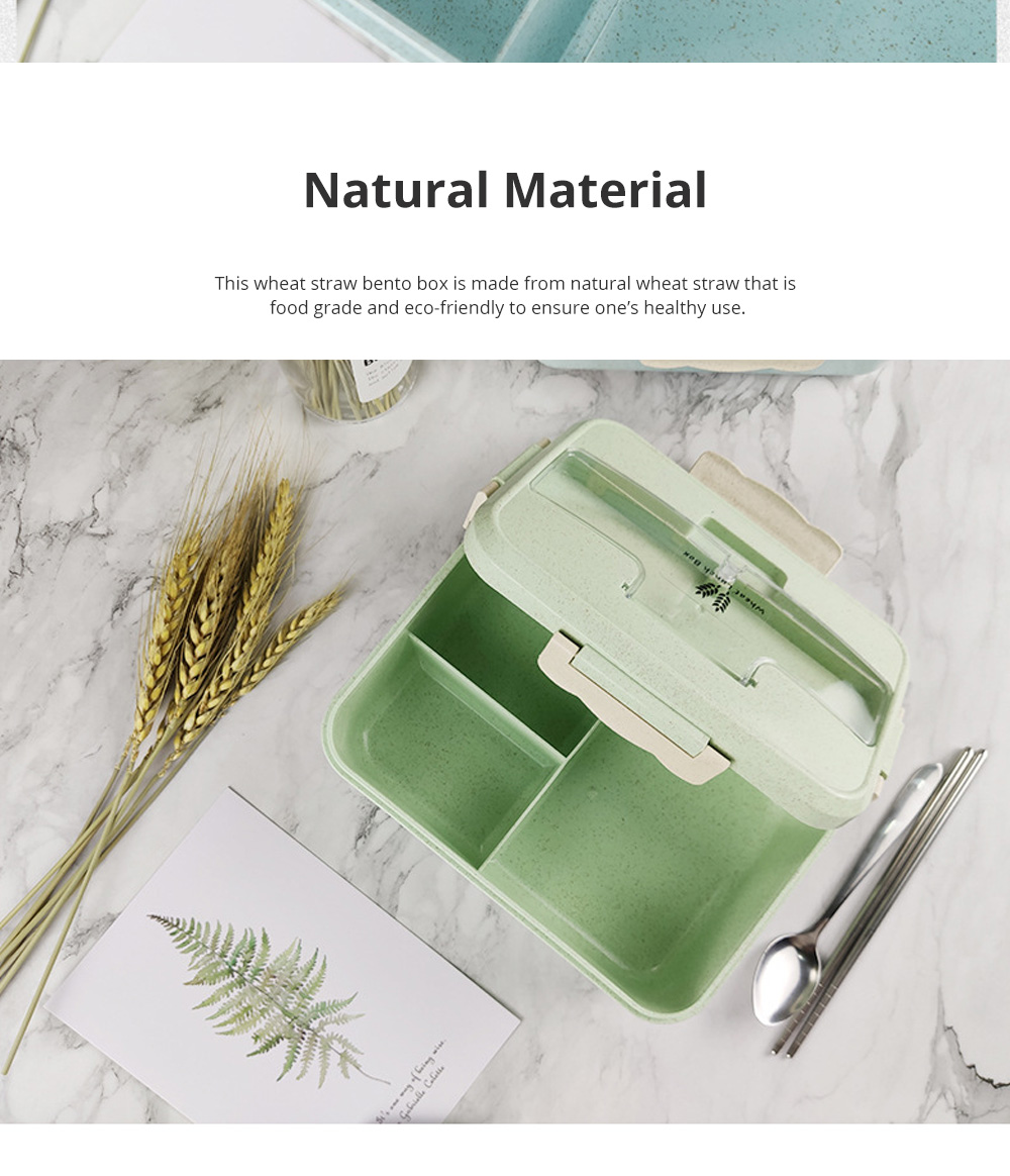 Creative Nordic Style Wheat Straw Bento Box for Students Portable Food Grade Wheat Straw Lunch Box 4